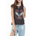 Fashion Letter Eagle Print Lace-Up Round Neck Sleeveless Casual Grey Tank Top