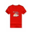 Popular Cartoon Sleeping Egg Letter FIVE MORE MINUTES Print Basic Short Sleeve Graphic Tee