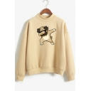 Mock Neck Long Sleeve Funny Cartoon Dog Pullover Casual Sweatshirt