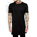Men's Hip Hop Style Simple Plain Short Sleeve Black Hipster Long T-Shirt