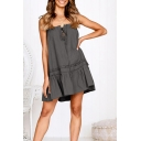 Trendy Drawstring Front Chic Ruffle Hem Simple Plain Mini Swing Cami Dress