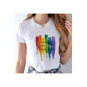 Letter LOVE WINS Rainbow Painted White Short Sleeve Graphic Tee