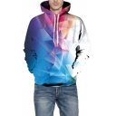 Chic 3D Blue Geometric Printed Long Sleeve Pullover Drawstring Hoodie with Pocket