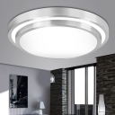 2 Tiers Round LED Flush Light Modern Design Burnished Aluminum Flush Ceiling Light in Silver