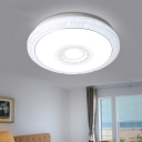 White Round LED Ceiling Fixture Modern Design Acrylic Flush Mount Light for Living Room