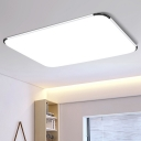 Rectangle Ultra Thin LED Flush Light Modern Design Acrylic Ceiling Fixture in White for Office