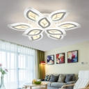 2 Tiers Leaves Semi Flush Light Fixture Modern Fashion Metal Multi Lights Indoor Lighting Fixture in White