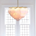 Gold Finish Sputnik Hanging Lamp Modernism Acrylic 4 Heads Chandelier Light for Dining Room