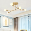 6 Lights Crossed Lines Ceiling Lamp Designer Style Metal Semi Flush Light in Gold for Hallway