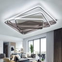 Brown 3 Rectangle Frame LED Ceiling Lamp Modern Design Metal Decorative Flush Light Fixture