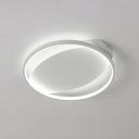 Circular Ceiling Fixture with Oval Metal Canopy Nordic Style LED Flush Mount Light in Warm/White