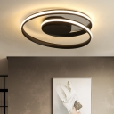 Silicon Gel Twist LED Flush Mount with Round Canopy Modern Fashion Ceiling Lamp in Black