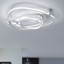 Contemporary Triangle Ceiling Light Acrylic LED Semi Flushmount in White for Sitting Room