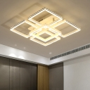 Modern Fashion 2 Tiers Semi Flush Light with 5/8 Square Frame Metal LED Ceiling Light in Warm/White