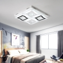 Squared Canopy LED Semi Flush Light Stylish Concise Metal Ceiling Light in Black and White