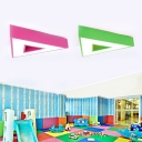 Green/Pink Triangle Ceiling Fixture with Acrylic Shade LED Flush Mount for Baby Kids Room