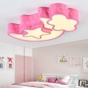 Moon and Star LED Ceiling Light Blue/Pink Metal Flush Mount for Boys Girls Bedroom