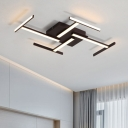 Silicon Gel Linear Ceiling Light Modern Design LED Flush Mount in Brown for Bedroom