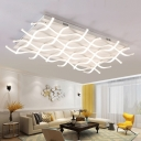 White Ripple LED Ceiling Lamp Modern Chic Metallic Flush Light Fixture for Study Room