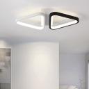 Black and White Triangle Ceiling Light Simplicity Metal LED Surface Mount Light for Porch