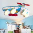 3/4 Heads Aircraft Flush Light Boys Bedroom Glass Shade Ceiling Lamp in Chrome