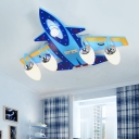 3/5 Lights Airplane Semi Flush Mount Children Bedroom Opal Glass Ceiling Fixture in Chrome