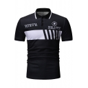Popular Letter TRY BRAVE Printed Contrast Tipped Mens Summer Slim Fit Polo Shirt