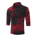 Men's Classic Retro Tie Dye Single Pocket Slim Fitted Long Sleeve Burgundy Polo Shirt