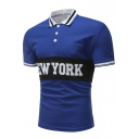 Summer Fashion Letter NEW YORK Print Contrast Tipped Guys Slim Fit Polo Shirt