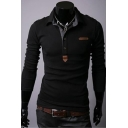 Men's Slim Fitted Fashion Patched Long Sleeve Polo Shirt