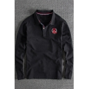 Simple Embroidered Logo Chest Cotton Casual Long Sleeve Polo Shirt for Men
