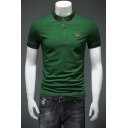 Men Summer Fashion Bee Embroidery Tipped Collar Slim Fit Cotton Polo Shirt