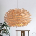 Weave Nest Design Hanging Lamp Modern Fashion Single Head Suspension Light in Wood for Foyer