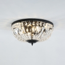 Bowl Indoor Lighting Fixture Modern Luxury Crystal 4/6 Bulbs Flush Mount in Black for Porch