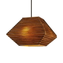 Brown Paper Pendant Lamp Asian Style Single Light Hanging Ceiling Lamp for Living Room