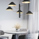 Nordic Style Tapered Chandelier Lighting Metallic 5 Bulbs Hanging Light Fixture in Textured Black for Coffee Shop