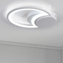 Contemporary Ultrathin LED Lighting Fixture with Crescent Metallic Decorative Ceiling Lamp in White