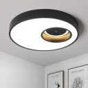 Ultrathin Round Ceiling Light Modern Chic Acrylic Eye Protection Surface Mount LED Light in Black