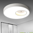White Super-thin LED Flushmount with Round Contemporary Metal Surface Mount Ceiling Light