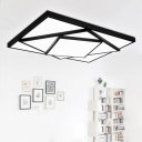 Modernism Concise Geometric Pattern Flushmount Acrylic Shade LED Indoor Lighting Fixture in Black
