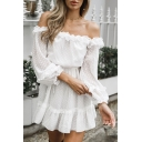 Chic Off The Shoulder Ruffled Hem Polka Dot Print White Mini A-Line Dress