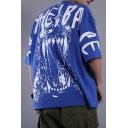 Men's Cool Letter Venom Pattern Half-Sleeved Blue Oversized T-Shirt