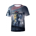 Legends Robot Character Printed Short Sleeve Grey T-Shirt