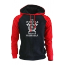 Vikings DIE IN BATTLE Colorblocked Raglan Sleeve Hip Hop Drawstring Hoodie
