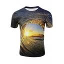 Awesome 3D Whirlpool Galaxy Pattern Short Sleeve Blue T-Shirt