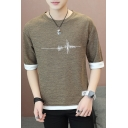 Summer Men's Patched Hem Round Neck Half-Sleeved Casual Breathable T-Shirt
