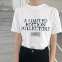 Basic Crewneck Short Sleeve Simple Letter A LIMITED EDITION Pattern White T-Shirt