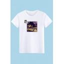 Street Fashion Cool Portrait Print Basic Short Sleeve Regular-Fit Cotton T-Shirt
