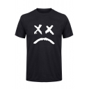 American Rapper Sad Face Pattern Street Fashion Short Sleeve T-Shirt