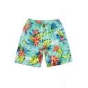 Men's Summer Fashion Floral Printed Drawstring Waist Quick-Dry Beach Surfing Swim Shorts
